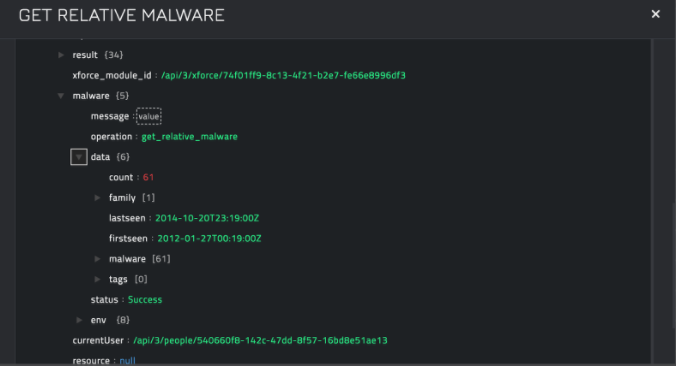 Sample output of the Get Relative Malware operation