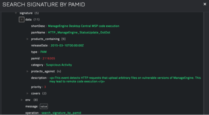 Sample output of the Search Signature by PAMID operation