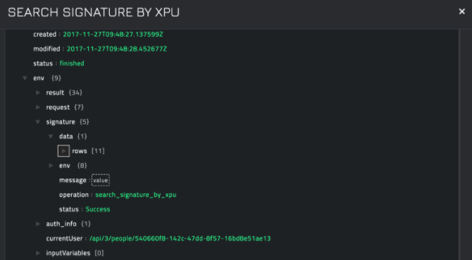 Sample output of the Search Signature by XPU operation