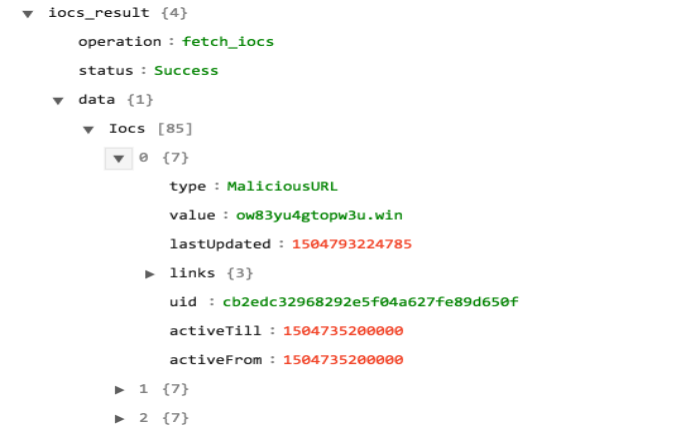 Sample output of the Get IOCs operation