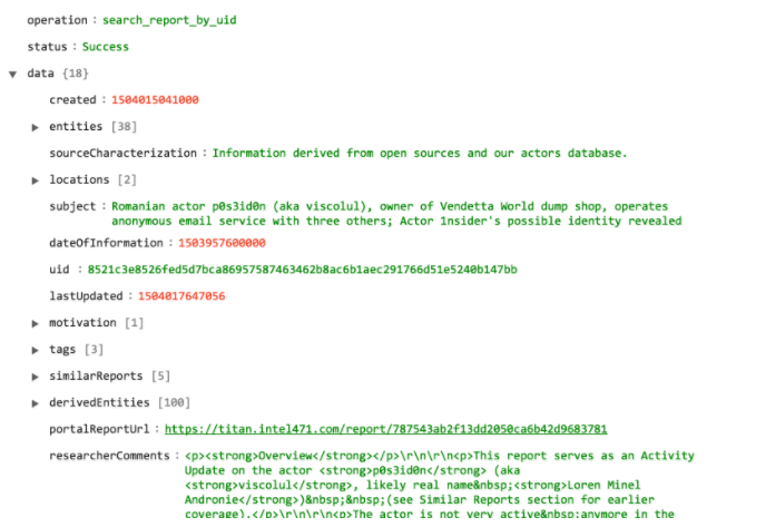 Sample output of the Get Report using UID operation