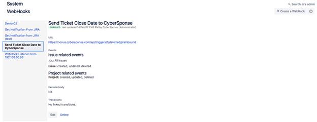Screenshot of a configured Jira WebHook