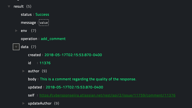 Sample output of the Add Comment operation