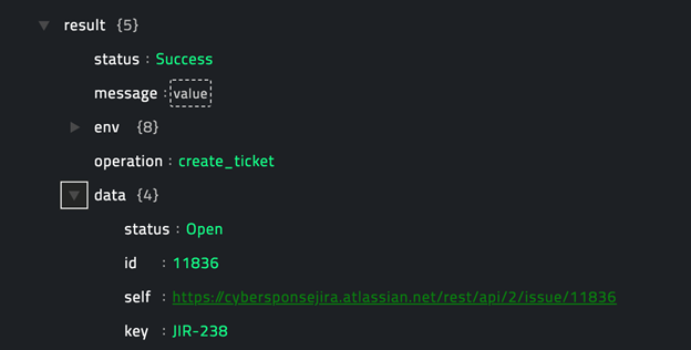 Sample output of the Create Ticket operation