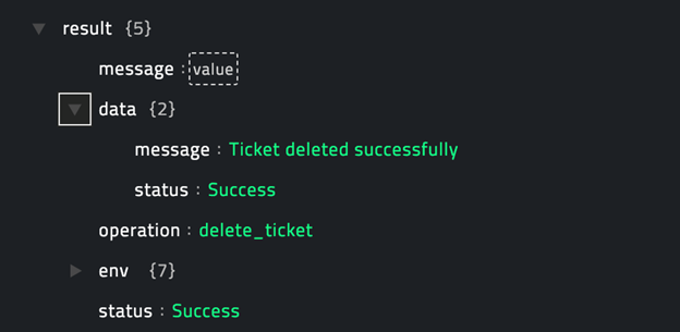 Sample output of the Delete Ticket operation