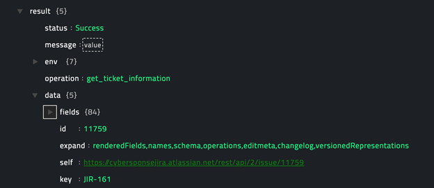 Sample output of the Get Ticket Information operation