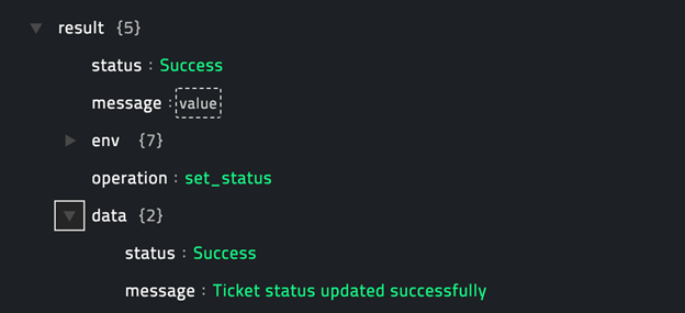 Sample output of the Set Ticket Status operation