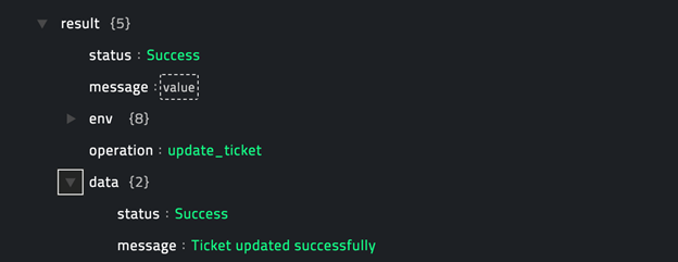 Sample output of the Update Ticket operation