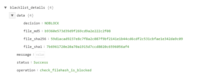 Sample output of the Check Filehash is Blocked operation