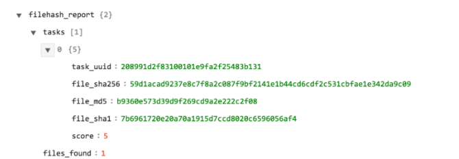 Sample output of the Search Result using Filehash operation