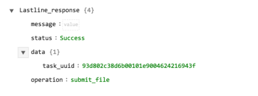 Sample output of the Submit File operation