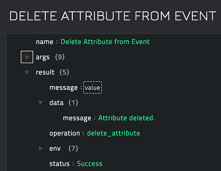 Sample output of the Delete Attribute from Event operation