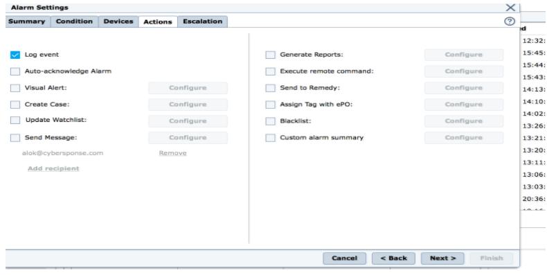 McAfee ESM - Alarm Settings dialog - Action Tab
