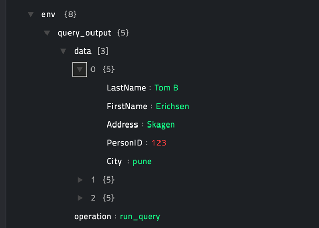 Sample output of the Run Query operation
