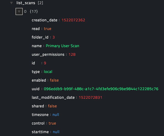 Sample output of the List Scans operation