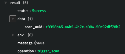Sample output of the Trigger Scan operation