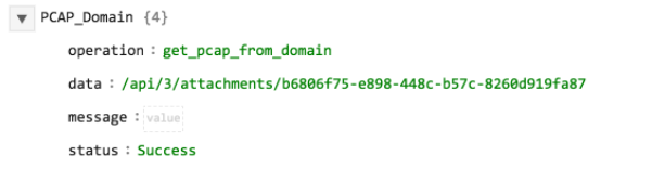 Sample output of the Get PCAP operation with Domain as input