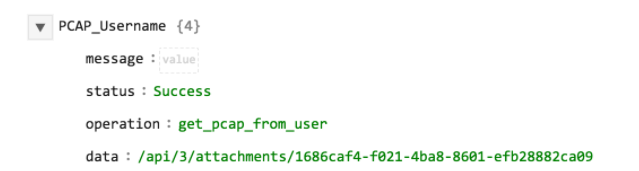 Sample output of the Get PCAP operation with Username as input