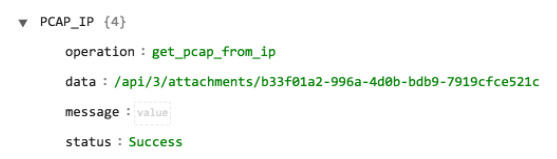 Sample output of the Get PCAP operation with IP as input