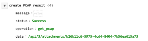 Sample output of the Get PCAP for Session Ids operation