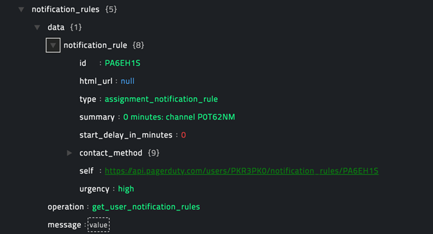 Sample output of the Get User Notification Rules operation
