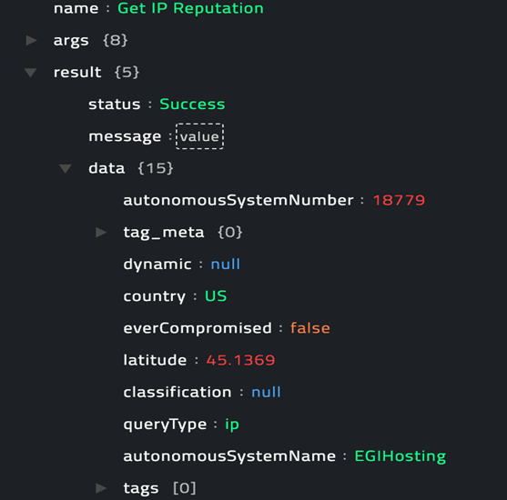 Sample output of the Get IP Reputation operation