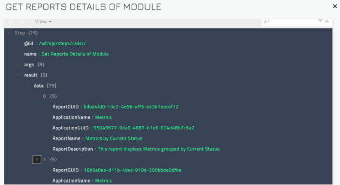 Sample output of the Get Reports Details of Module operation
