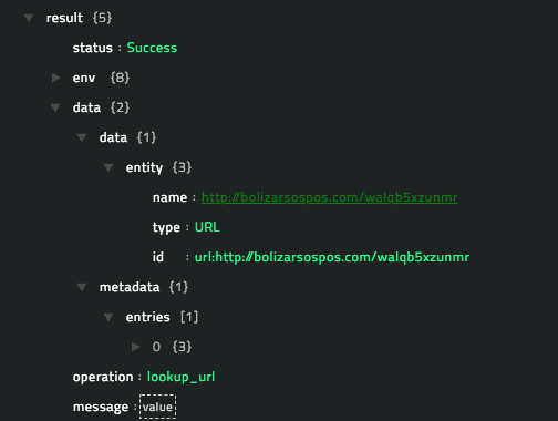Sample output of the Lookup URL operation