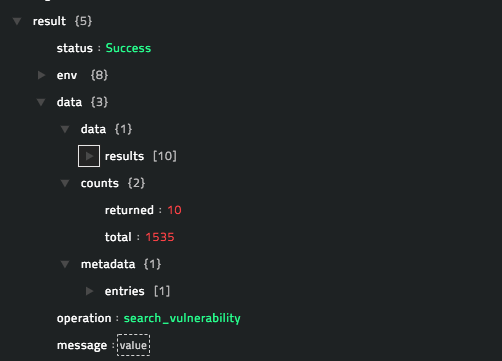 Sample output of the Search Vulnerabilities operation