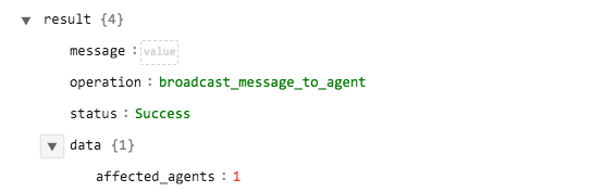 Sample output of the Broadcast Message to Agent operation