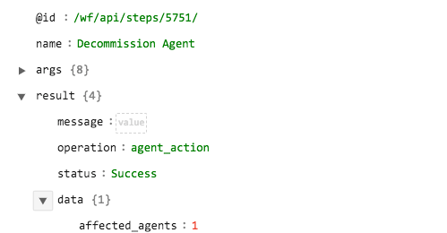 Sample output of the Decommission Agent operation