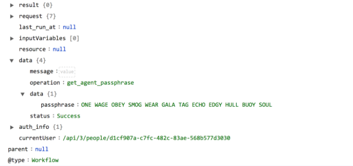 Sample output of the Get Agent Passphrase operation