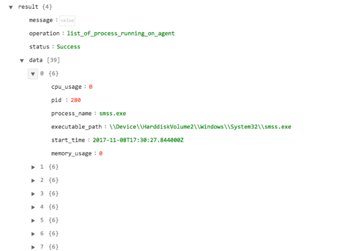 Sample output of the List of Processes Running on Agents operation