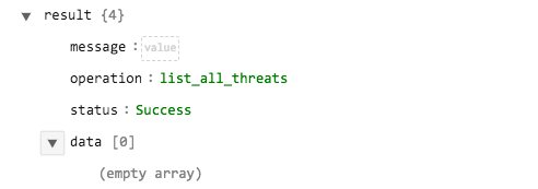 Sample output of the List all Threats operation