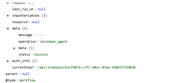 Sample output of the Shutdown Agent operation