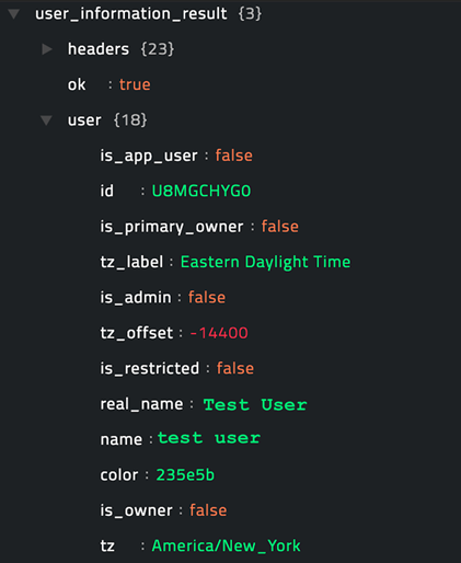 Sample output of the Get User Information operation