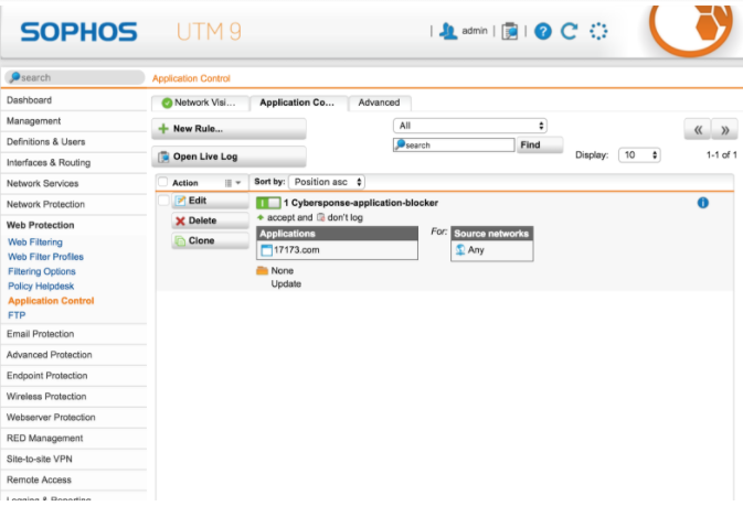 Sophos UTM: Create Application Control Rule Policy