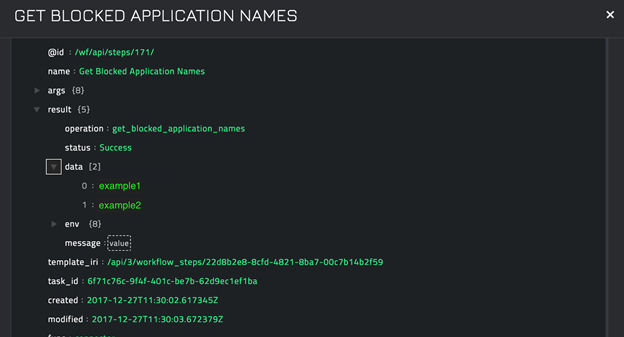 Sample output of the Get Blocked Application Names operation