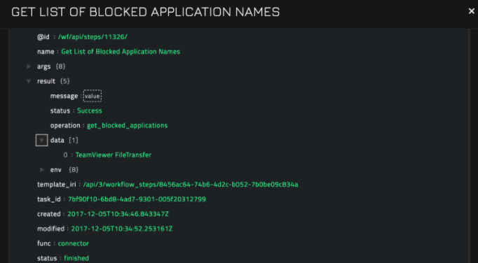 Sample output of the Get List of Blocked Application Names operation