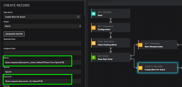 Mapping between a Splunk Alert and CyOPs™ Alert or Incident