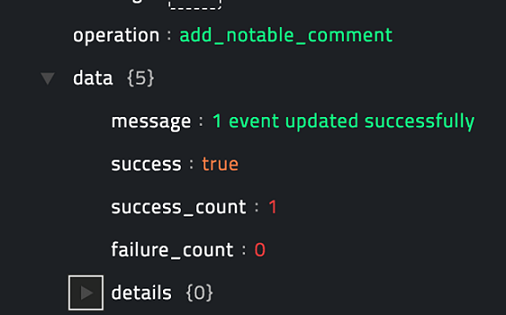 Sample output of the Add Comment to Notables operation