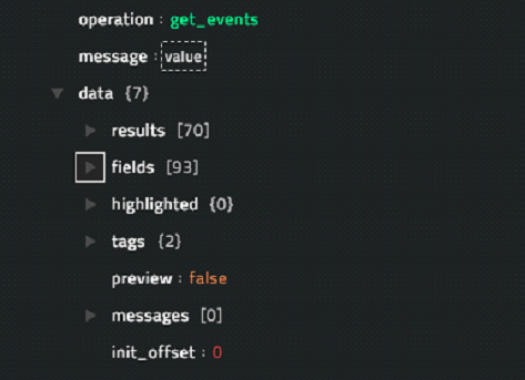 Sample output of the Get Events for a Search operation