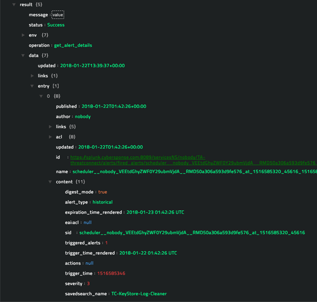 Sample output of the Get Details Of Triggered Alerts operation