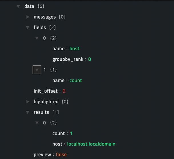 Sample output of the Invoke Search operation