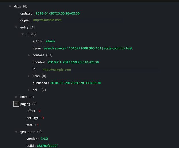 Sample output of the Get Details for a Search operation