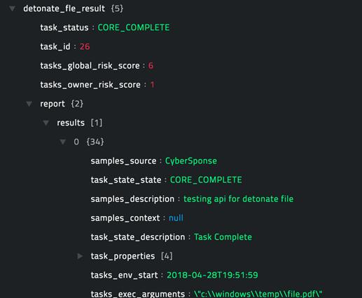 Sample output of the Detonate File operation