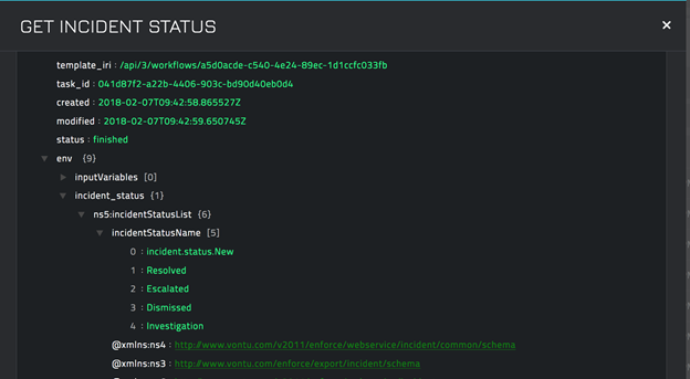 Sample output of the Get Incident Status operation
