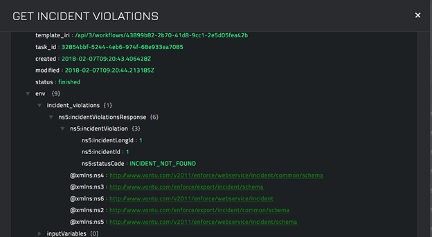 Sample output of the Get Incident Violations operation