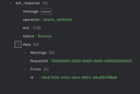 Sample output of the Delete sha256 from whitelist operation