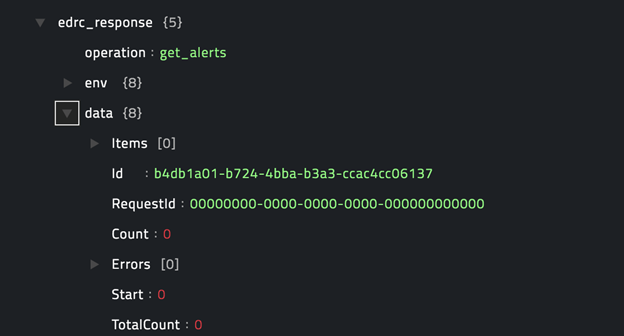 Sample output of the Get Alerts